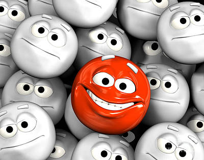 Happy Laughing Emoticon Face Among Others Poster