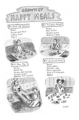 'happy Meals For Grown Ups' Poster by Roz Chast