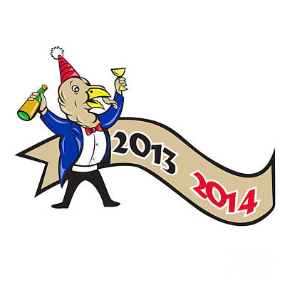 Happy New Year 2014 Turkey Toasting Wine Cartoon Poster