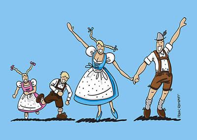Happy Oktoberfest Couple With Children Poster by Frank Ramspott