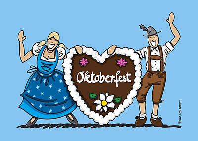 Happy Oktoberfest Couple With Gingerbread Heart Poster by Frank Ramspott