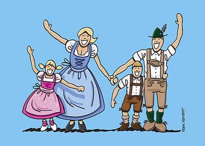 Happy Oktoberfest Family Waving Hands Poster by Frank Ramspott