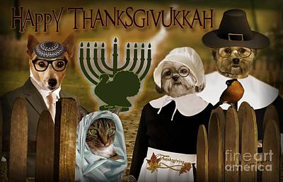 Poster featuring the digital art Happy Thanksgivukkah -4 by Kathy Tarochione