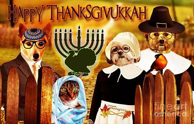 Poster featuring the digital art Happy Thanksgivukkah -5 by Kathy Tarochione