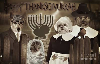 Poster featuring the digital art Happy Thanksgivukkah -6 by Kathy Tarochione