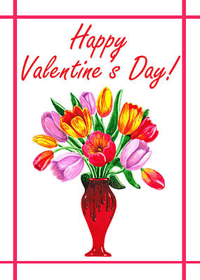 Happy Valentines Tulip Bouquet Poster