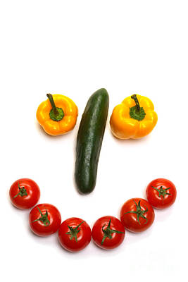 Happy Veggie Face Poster by Olivier Le Queinec