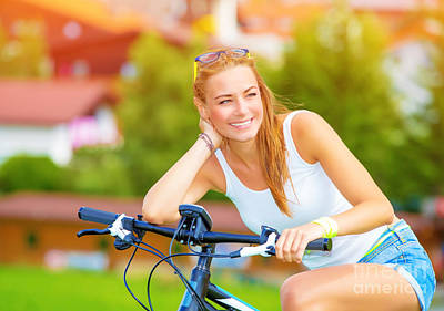 Happy Woman On The Bicycle Poster by Anna Om