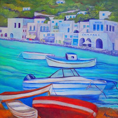 Harborfront Mykonos Poster