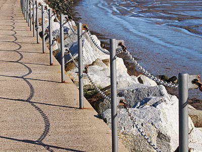 Harbour Wall Shadows Poster by Gill Billington