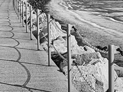 Harbour Wall Shadows In Black And White Poster by Gill Billington