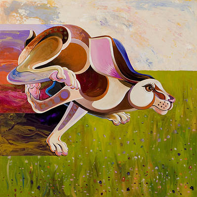 Poster featuring the painting Hare Borne by Bob Coonts