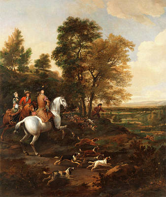 Hare Hunting Signed In Brown Paint, Lower Right Jwÿck Poster by Litz Collection