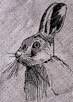 Hare On Burlap Poster