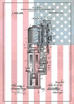 Harley Davidson Engine American Flag Poster