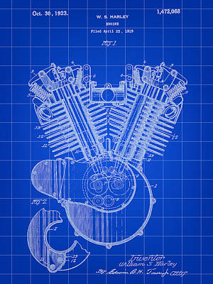 Harley Davidson Engine Patent 1919 - Blue Poster by Stephen Younts