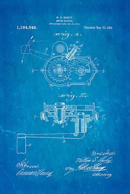 Harley Davidson Kick Starter Patent Art 1916 Blueprint Poster by Ian Monk
