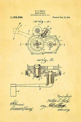 Harley Davidson Kick Starter Patent Art 1916 Poster