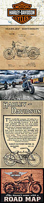 Harley-davidson Montage With Austin Map Poster