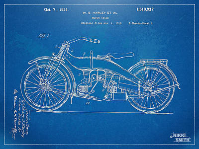 Harley-davidson Motorcycle 1924 Patent Artwork Poster by Nikki Marie Smith