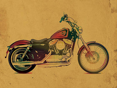 Harley Davidson Motorcycle Profile Portrait Watercolor Painting On Worn Parchment Poster by Design Turnpike