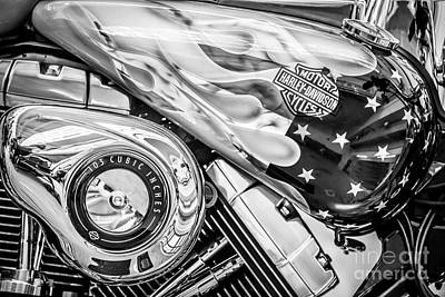 Harley Davidson Motorcycle Stars And Stripes Fuel Tank - Black And White Poster by Ian Monk