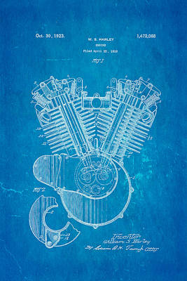 Harley Davidson V Twin Engine Patent Art 1923 Blueprint Poster by Ian Monk
