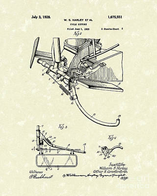Harley Support 1928 Patent Art Poster by Prior Art Design