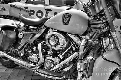 Harleys In Cincinnati 2 Bw Poster by Mel Steinhauer