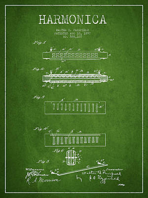 Harmonica Patent Drawing From 1897 - Green Poster by Aged Pixel