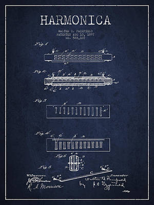 Harmonica Patent Drawing From 1897 - Navy Blue Poster by Aged Pixel