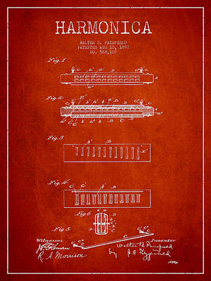 Harmonica Patent Drawing From 1897 - Red Poster by Aged Pixel