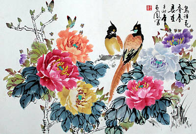Poster featuring the painting Harmony And Lasting Spring by Yufeng Wang