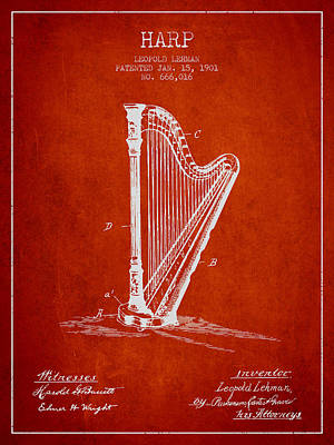 Harp Music Instrument Patent From 1901 - Red Poster