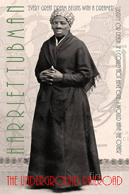 Harriet Tubman The Underground Railroad 20140210v2 With Text Sepia Poster by Wingsdomain Art and Photography