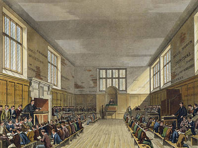 Harrow School Room From History Poster by Augustus Charles Pugin