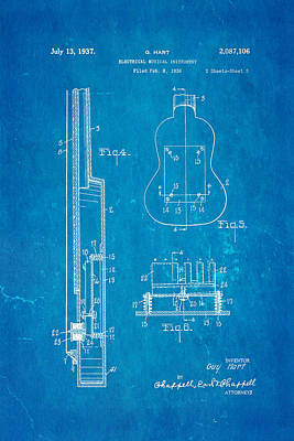 Hart Gibson First Electric Guitar 2 Patent Art 1937 Blueprint Poster