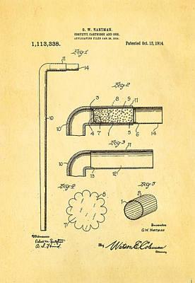 Hartman Confetti Gun Patent Art 1914 Poster