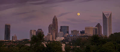 Poster featuring the photograph Harvest Moon Over Charlotte by Serge Skiba