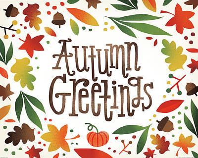 Harvest Time Autumn Greetings Poster