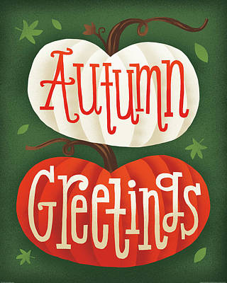 Harvest Time Autumn Greetings Pumpkins Poster by Michael Mullan