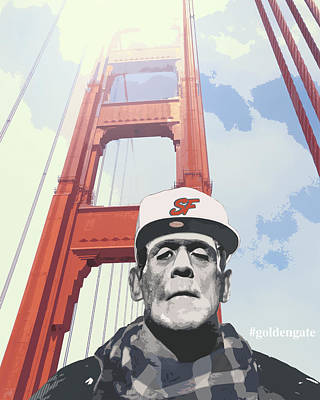 Hashtag Goldengate Frankie's Selfie Poster by Filippo B