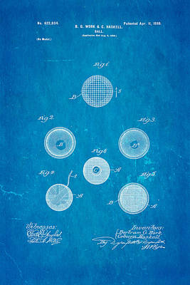 Haskell Wound Golf Ball Patent 1899 Blueprint Poster by Ian Monk