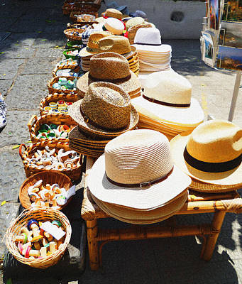 Hat Market Amalfi Coast Italy  Poster by Irina Sztukowski