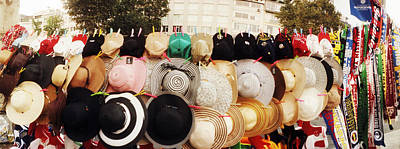 Hats On Display For Sale On The Street Poster by Panoramic Images