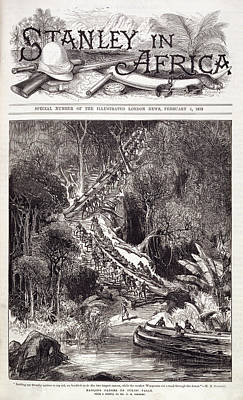 Hauling Canoes Up Inkisi Falls Poster by British Library
