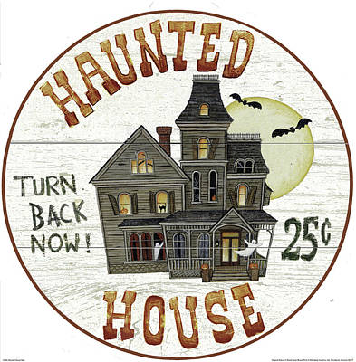 Haunted House Sign Poster by David Carter Brown