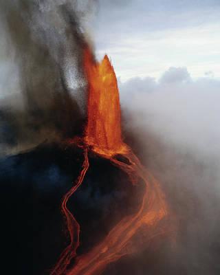 Hawaii Islands, Kilauea, View Of Lava Poster by Douglas Peebles