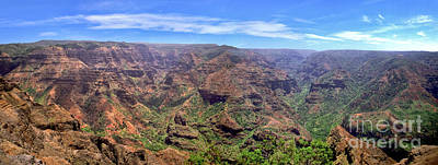 Hawaii Kauai Waimea Canyon Beautiful Panorama Poster by David Zanzinger