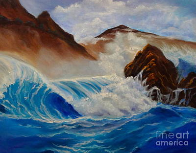 Poster featuring the painting Hawaii On The Rocks by Jenny Lee